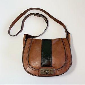 Fossil I Love Vintage Brown Saddlebag Black Patent